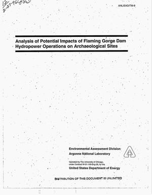 Primary view of object titled 'Analysis of potential impacts of Flaming Gorge Dam hydropower operations on archaeological sites'.