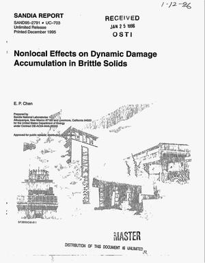 Primary view of object titled 'Nonlocal effects on dynamic damage accumulation in brittle solids'.