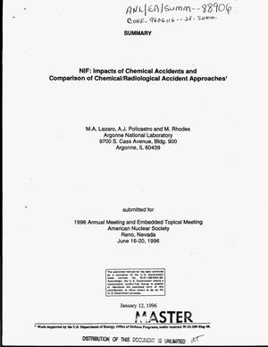 Primary view of object titled 'NIF: Impacts of chemical accidents and comparison of chemical/radiological accident approaches'.