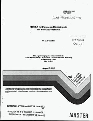 Primary view of object titled 'MPC&A for plutonium disposition in the Russian federation'.