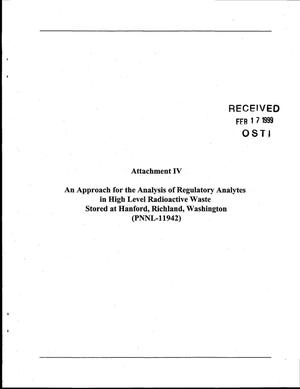 Primary view of object titled 'An Approach for the Analysis of Regulatory Analytes in High Level Radioactive Waste Stored at Hanford, Richland, Washington'.