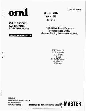 Primary view of object titled 'Nuclear medicine program progress report for quarter ending December 31, 1995'.