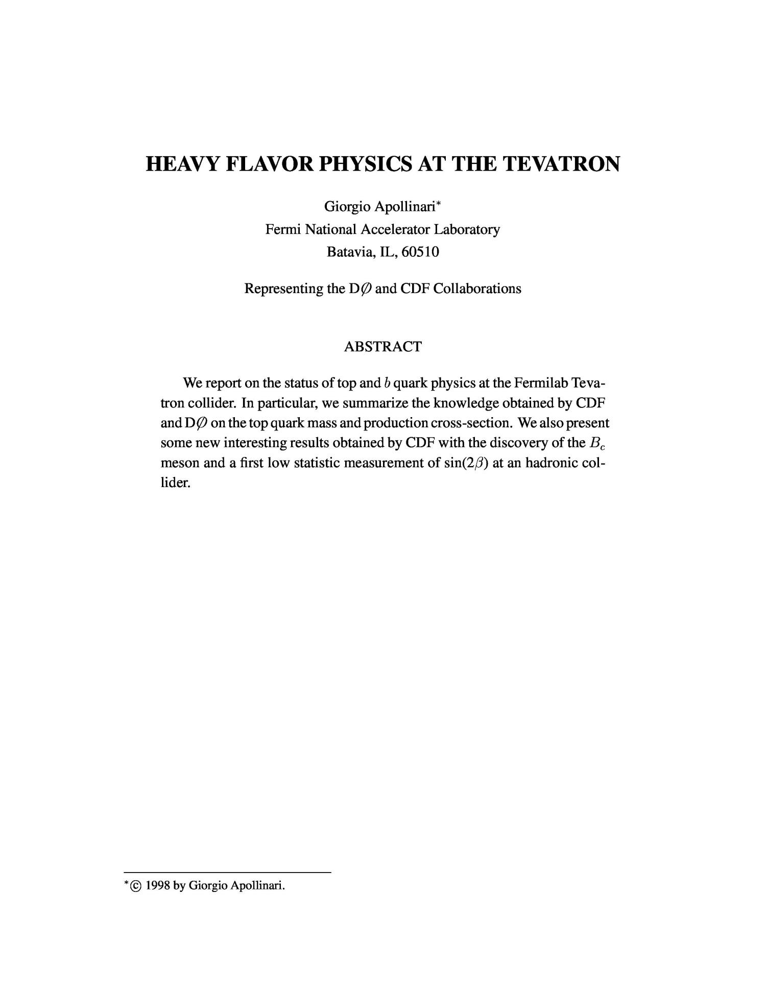 Heavy flavor physics at the Tevatron                                                                                                      [Sequence #]: 3 of 45