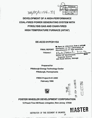 Primary view of object titled 'Development of a high-performance coal-fired power generating system with pyrolysis gas and char-fired high temperature furnace (HITAF). Volume 1, Final report'.