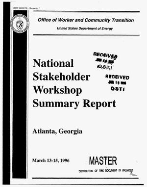 Primary view of object titled 'National stakeholder workshop summary report'.