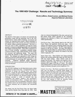 Primary view of object titled 'The 1995 HEV challenge: Results and technology summary'.