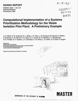 Primary view of object titled 'Computational implementation of a systems prioritization methodology for the Waste Isolation Pilot Plant: A preliminary example'.