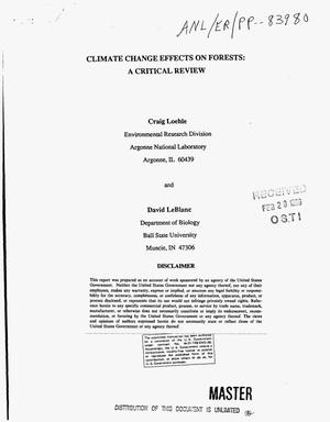 Primary view of object titled 'Climate change effects on forests: A critical review'.