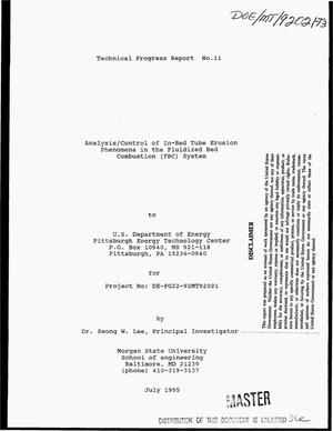 Primary view of object titled 'Analysis/control of in-bed tube erosion phenomena in the fluidized bed combustion (FBC) system. [Quarterly] technical progress report No. 11, April 1, 1995--June 30, 195'.