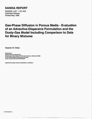 Primary view of object titled 'Gas-phase diffusion in porous media: Evaluation of an advective- dispersive formulation and the dusty-gas model including comparison to data for binary mixtures'.