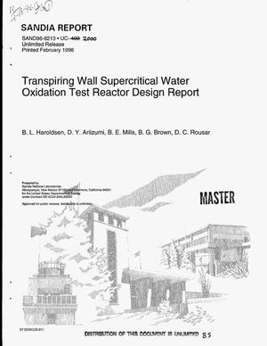 Primary view of object titled 'Transpiring wall supercritical water oxidation test reactor design report'.