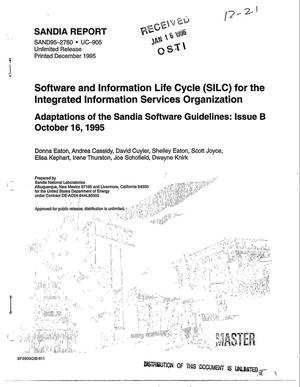 Primary view of object titled 'Software and information life cycle (SILC) for the Integrated Information Services Organization'.