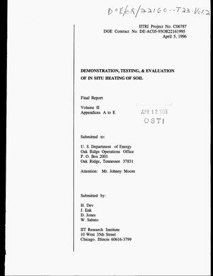 Primary view of object titled 'Demonstration, testing, and evaluation of in situ heating of soil. Final report, Volume 2, Appendices A to E'.