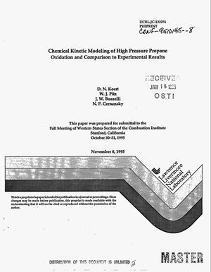 Primary view of object titled 'Chemical kinetic modeling of high pressure propane oxidation and comparison to experimental results'.