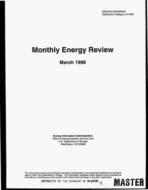 Primary view of object titled 'Monthly energy review: March 1996'.