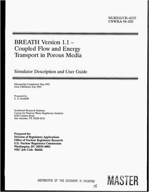 Primary view of object titled 'BREATH Version 1.1, Coupled flow and energy transport in porous media: Simulator description and user guide'.