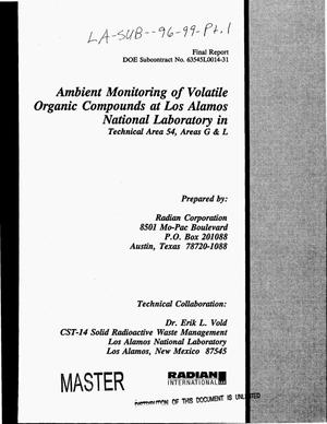 Primary view of object titled 'Ambient monitoring of volatile organic compounds at Los Alamos National Laboratory in technical area 54, areas G and L. Final report'.