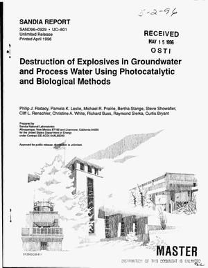 Primary view of object titled 'Destruction of explosives in groundwater and process water using photocatalytic and biological methods'.