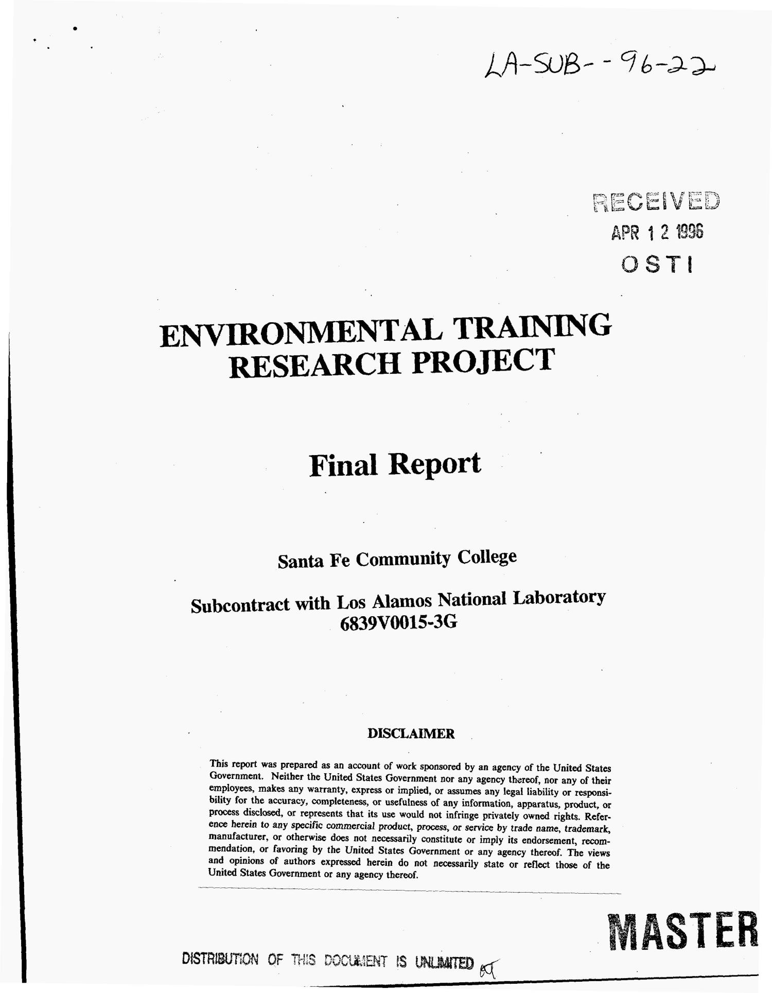 Environmental training research project. Final report                                                                                                      [Sequence #]: 1 of 8