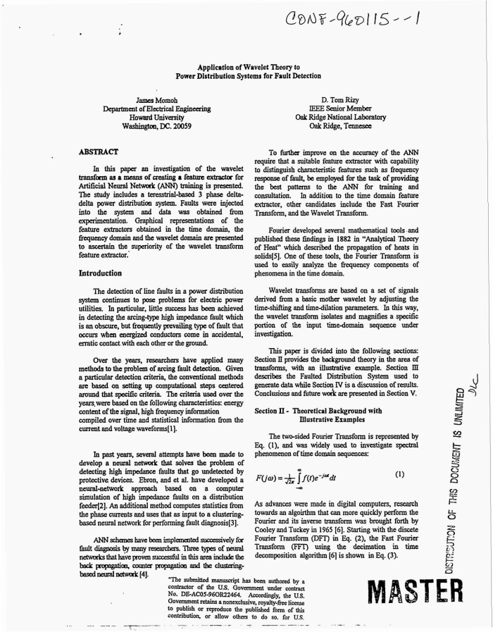 Application of wavelet theory to power distribution systems for