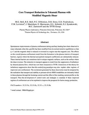 Primary view of object titled 'Core Transport Reduction in Tokamak Plasmas with Modified Magnetic Shear'.