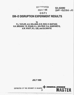 Primary view of object titled 'DIII-D disruption experiment results'.