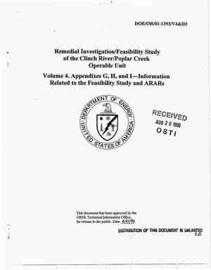 Primary view of object titled 'Remedial investigation/feasibility study of the Clinch River/Poplar Creek Operable Unit. Volume 4. Appendixes G, H, and I and information related to the feasibility study and ARARs'.