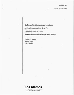 Primary view of object titled 'Radionuclide Contaminant Analysis of Small Mammals at Area G, Technical Area 54, 1997 (with cumulative summary 1994-1997)'.