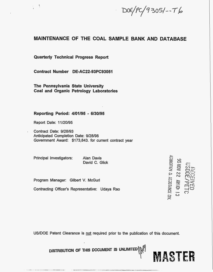 Maintenance Of The Coal Sample Bank And Database. Quarterly