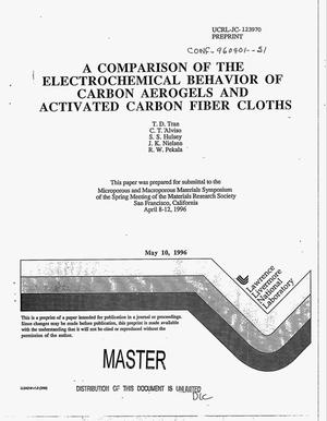 Primary view of object titled 'A comparison of the electrochemical behavior of carbon aerogels and activated carbon fiber cloths'.