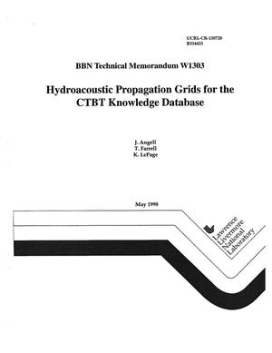 Primary view of object titled 'Hydroacoustic propagation grids for the CTBT knowledge databaes BBN technical memorandum W1303'.