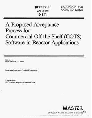 Primary view of object titled 'A proposed acceptance process for commercial off-the-shelf (COTS) software in reactor applications'.