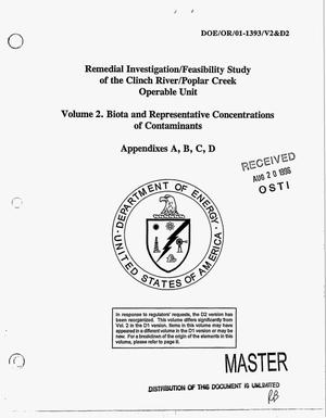 Primary view of object titled 'Remedial investigation/feasibility study of the Clinch River/Poplar Creek Operable Unit. Volume 2. Biota and representative concentrations of contaminants. Appendixes A, B, C, D'.