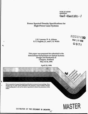 Primary view of object titled 'Power spectral density specifications for high-power laser systems'.