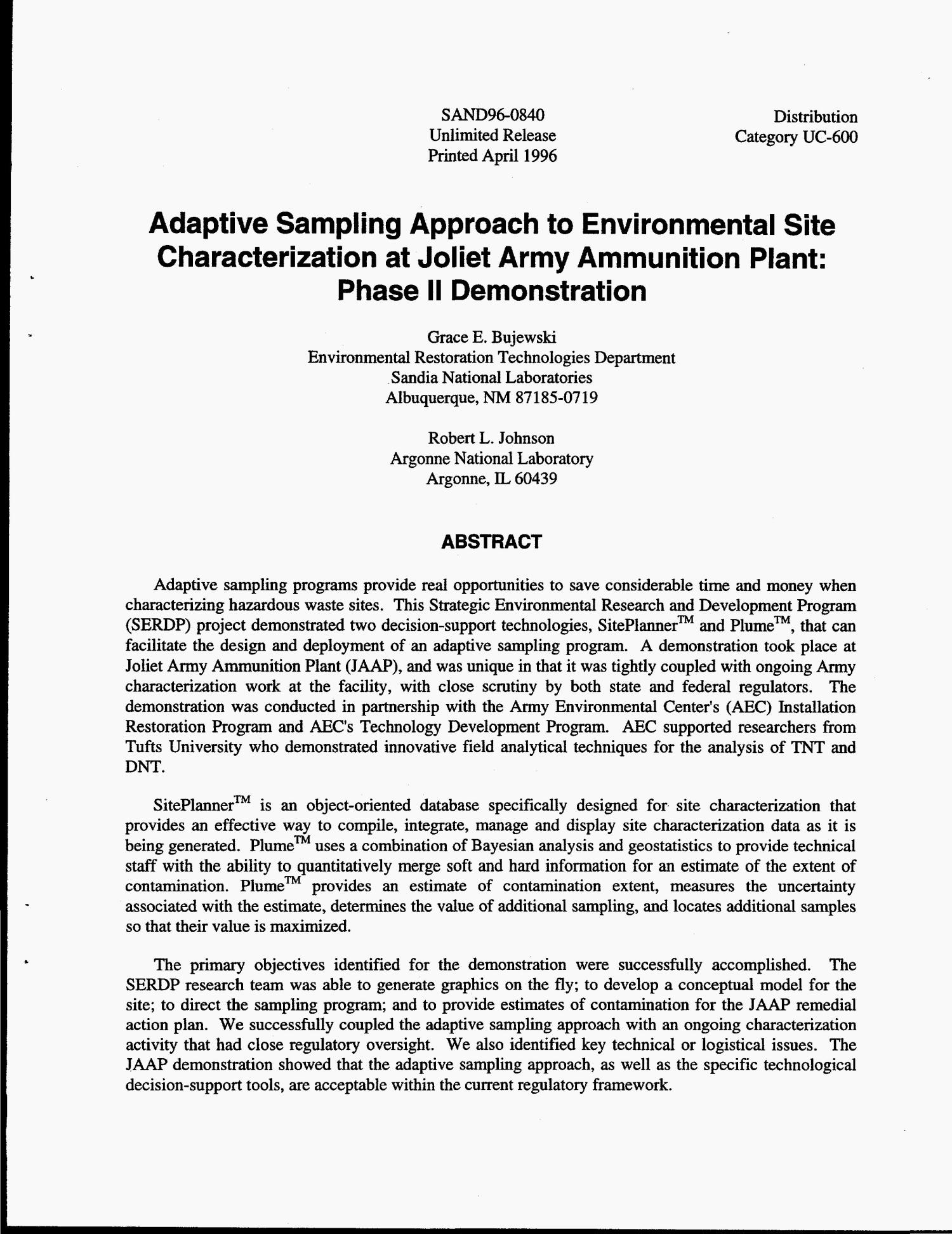 Adaptive Sampling approach to environmental site characterization at Joliet Army Ammunition Plant: Phase 2 demonstration                                                                                                      [Sequence #]: 4 of 35