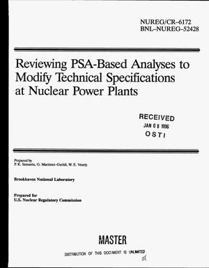 Primary view of object titled 'Reviewing PSA-based analyses to modify technical specifications at nuclear power plants'.