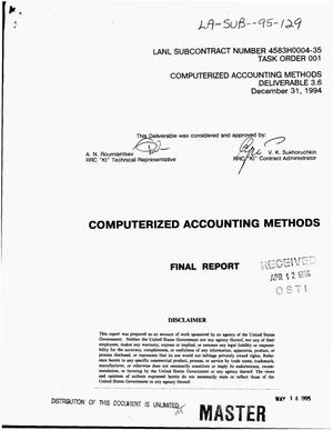 Primary view of object titled 'Computerized accounting methods. Final report'.