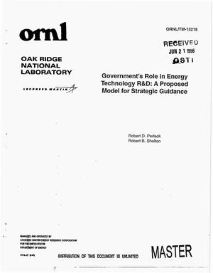 Primary view of object titled 'Government`s role in energy technology R&D: A proposed model for strategic guidance'.