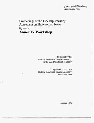 Primary view of object titled 'Proceedings of the IEA implementing agreement on photovoltaic power systems. Annex 4 workshop'.