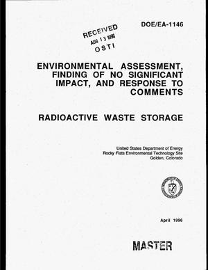 Primary view of object titled 'Environmental assessment, finding of no significant impact, and response to comments. Radioactive waste storage'.