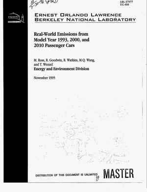 Primary view of object titled 'Real-world emissions from model year 1993, 2000, and 2010 passenger cars'.