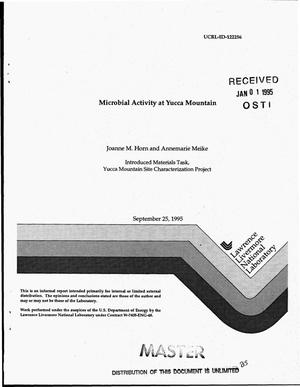 Primary view of object titled 'Microbial activity at Yucca Mountain'.