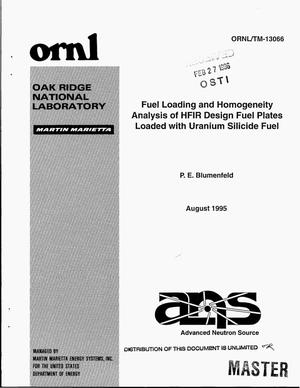 Primary view of object titled 'Fuel loading and homogeneity analysis of HFIR design fuel plates loaded with uranium silicide fuel'.