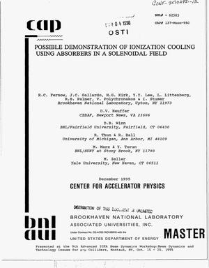 Primary view of object titled 'Possible demonstration of ionization cooling using absorbers in a solenoidal field'.