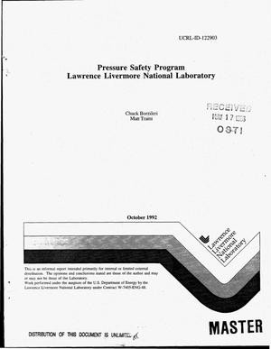 Primary view of object titled 'Pressure safety program Lawrence Livermore National Laboratory'.