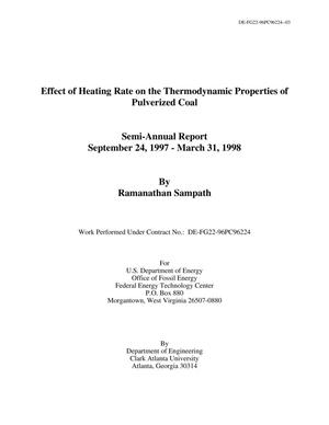 Primary view of object titled 'Effect of Heating Rate on the Thermodynamic Properties of Pulverized Coal'.