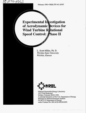 Primary view of object titled 'Experimental investigation of aerodynamic devices for wind turbine rotational speed control: Phase II'.