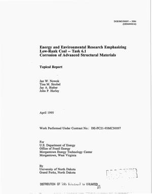 Primary view of object titled 'Energy and environmental research emphasizing low-rank coal: Task 6.1. Corrosion of advanced structural materials'.
