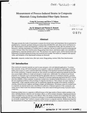 Primary view of object titled 'Measurement of process-induced strains in composite materials using embedded fiber optic sensors'.