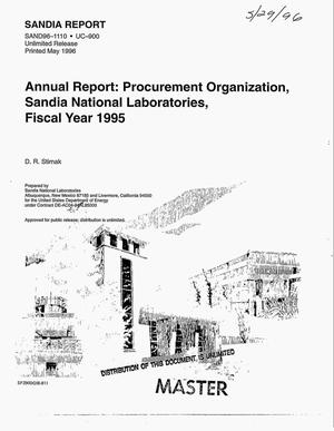 Primary view of object titled 'Procurement Organization, Sandia National Laboratories. Annual report, fiscal year 1995'.